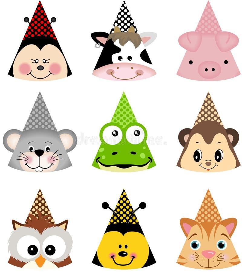 Животные шляпы партии иллюстрация вектора