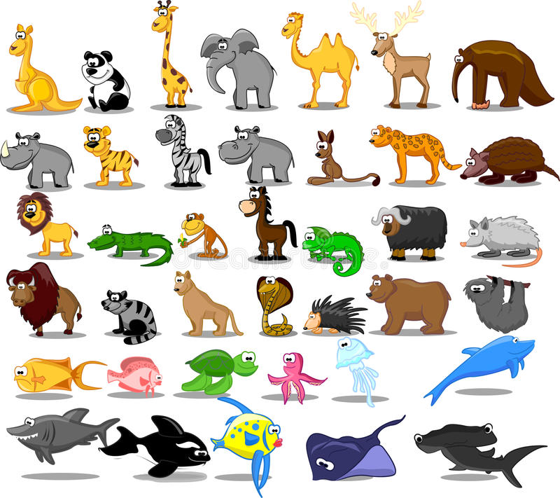 животные экстренные включая вектор большого льва установленный иллюстрация вектора