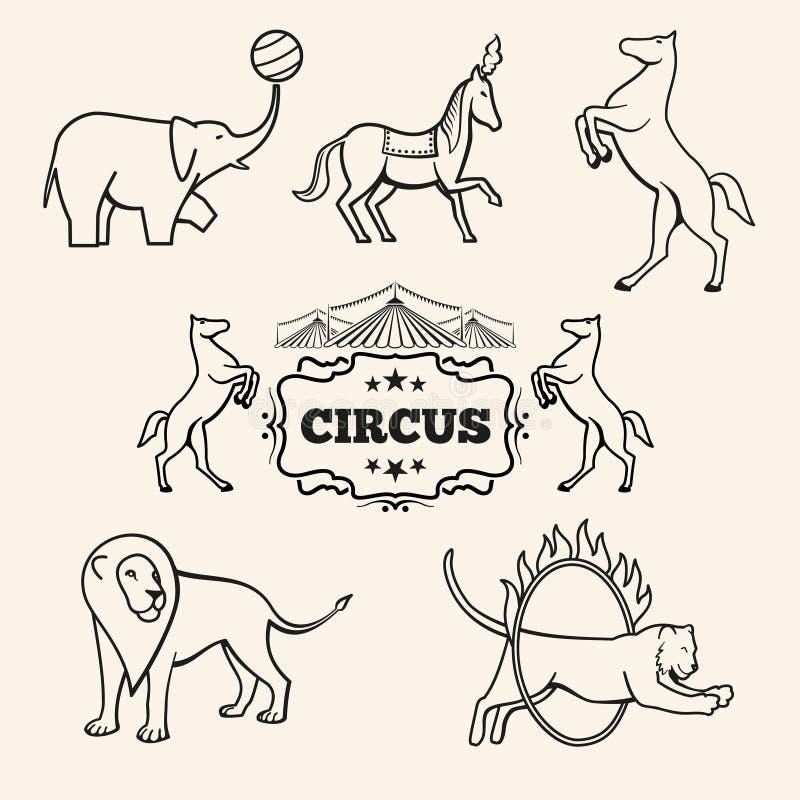 Животные эмблемы вектора, логотипы, комплект ярлыков бесплатная иллюстрация