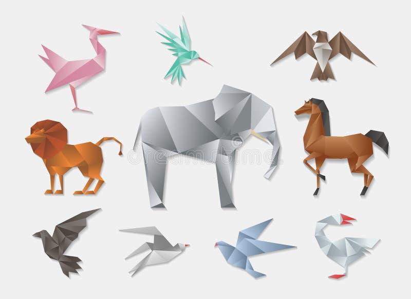 Животные Origami Комплект животного вектора 3d бумажный японский Слон и лошадь, голубь льва иллюстрация штока