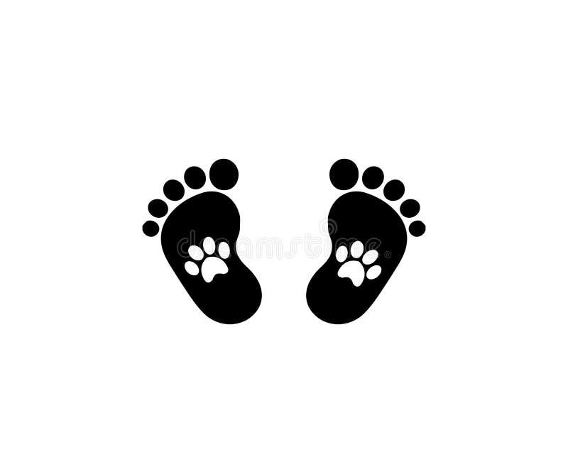 Животные pawprints внутри следов ноги младенца иллюстрация штока