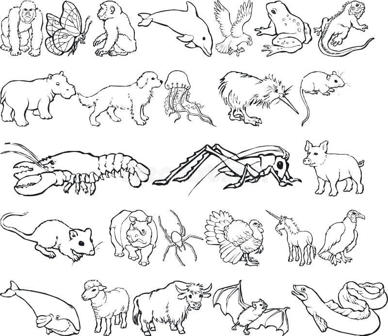 животные silouettes иллюстрация штока