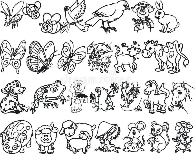 животные silouettes иллюстрация вектора
