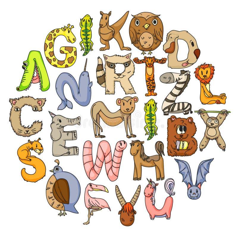 Животный алфавит Алфавит зоопарка r Животные мультфильма милые Слон, собака, фламинго, жираф, лошадь бесплатная иллюстрация