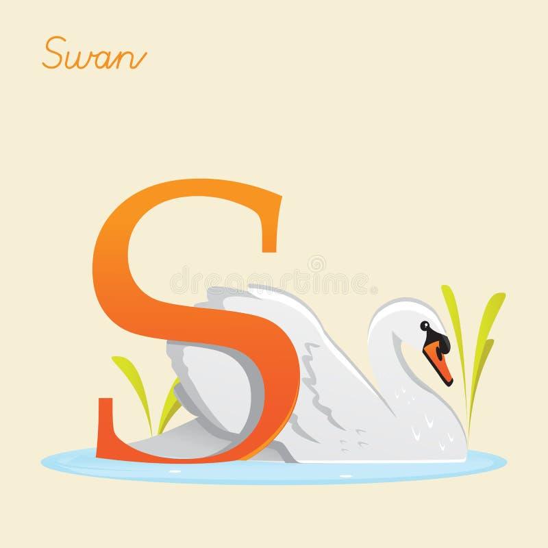 Животный алфавит с лебедем иллюстрация вектора