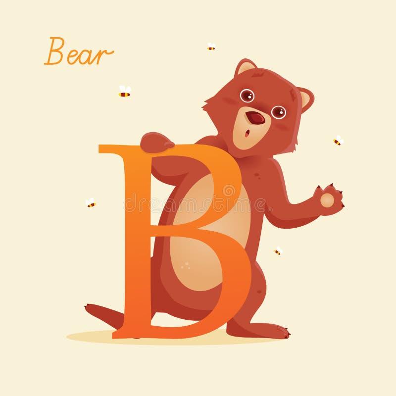 Животный алфавит с медведем иллюстрация вектора