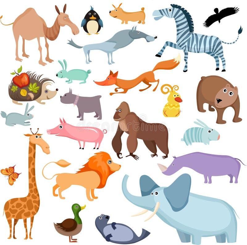 животный большой комплект иллюстрация вектора