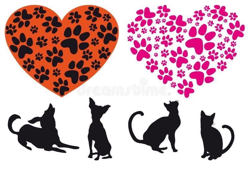животный вектор красного цвета картины сердца foodprint иллюстрация вектора