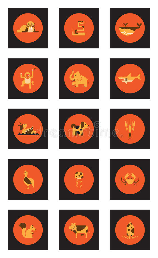 Животный комплект значка стоковое изображение
