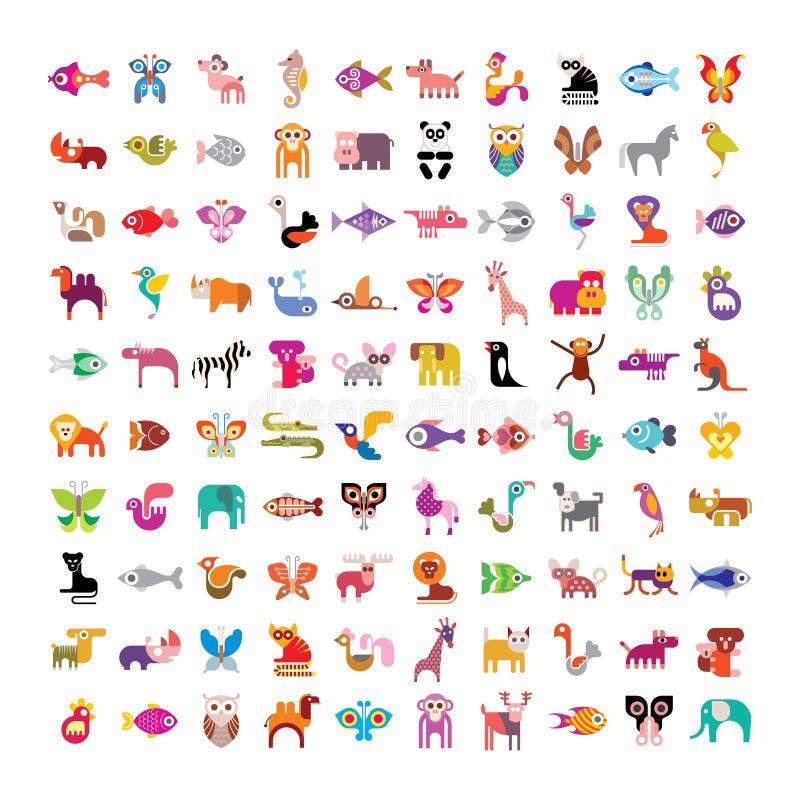 Животный комплект значка бесплатная иллюстрация