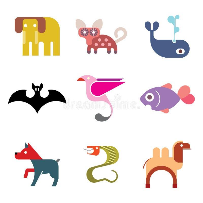 Животный комплект значка иллюстрация штока