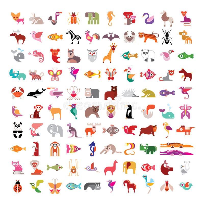 Животный комплект значка иллюстрация вектора