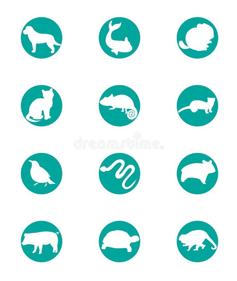 животный комплект иконы иллюстрация вектора