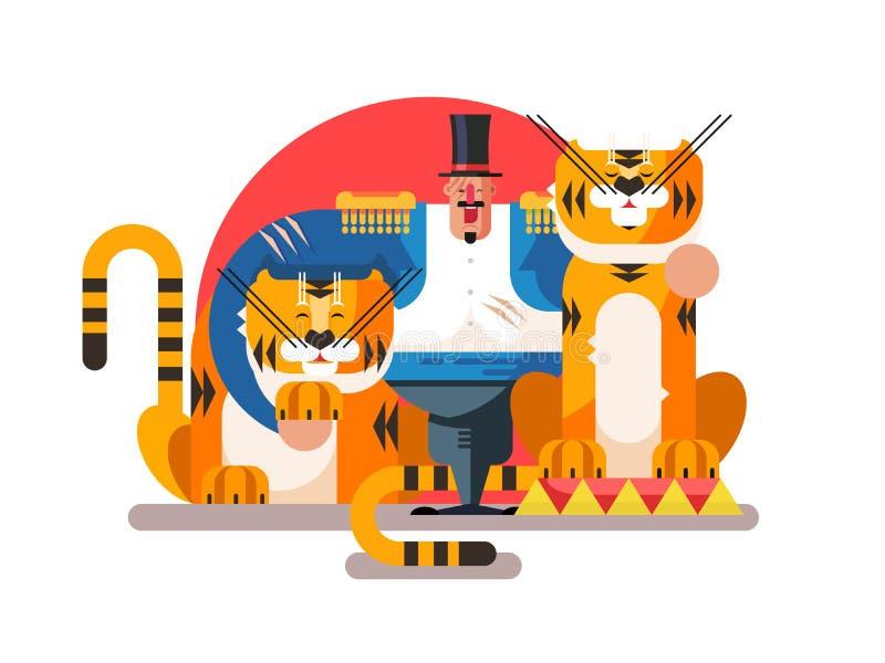 Животный тренер с тигром иллюстрация штока