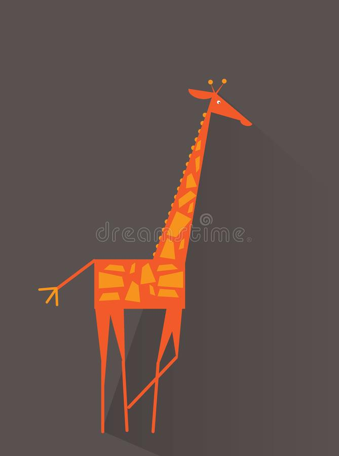 животный mammal giraffe шаржа одичалый Плоское животное, для плаката, летчик, крышка, брошюра Плоский дизайн Легко для того чтобы иллюстрация штока