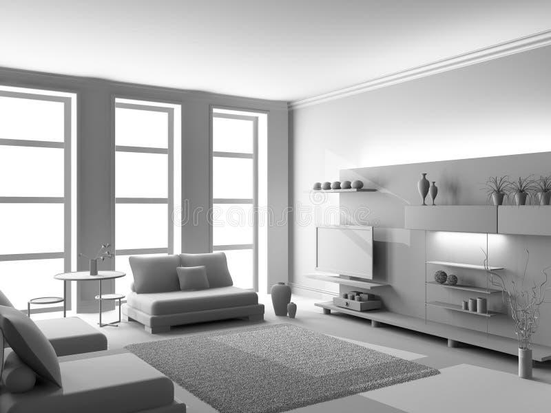 живущая белизна комнаты 3d иллюстрация вектора