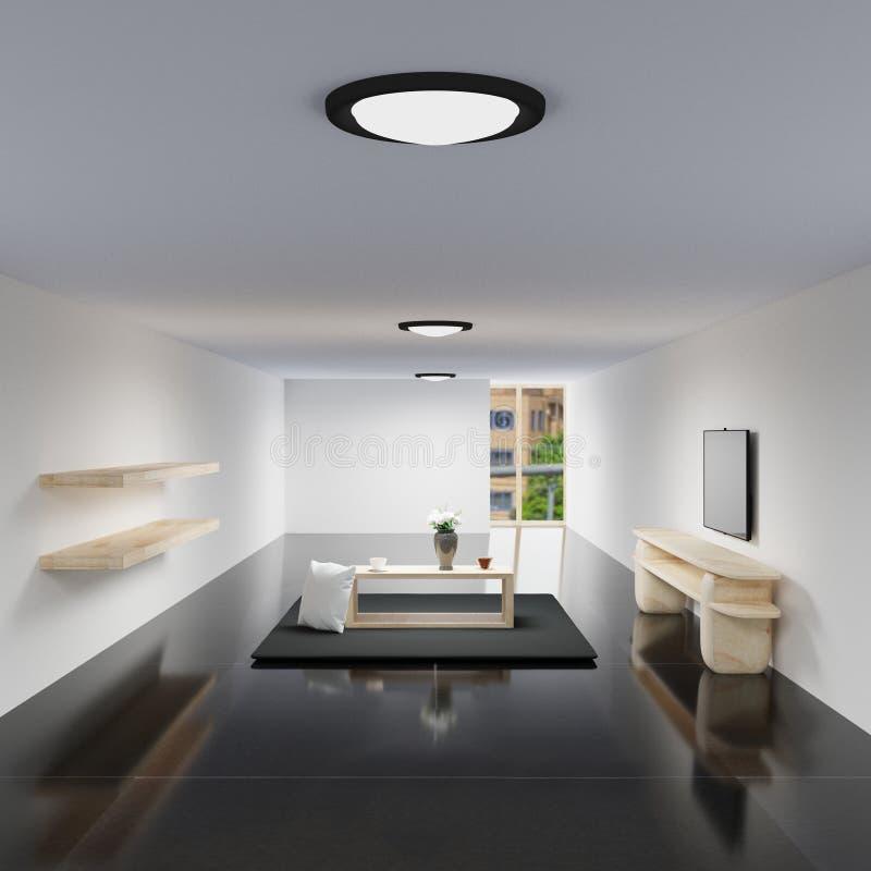 Живущая комната внутренняя с журнальным столом на плитке черноты лоска бесплатная иллюстрация