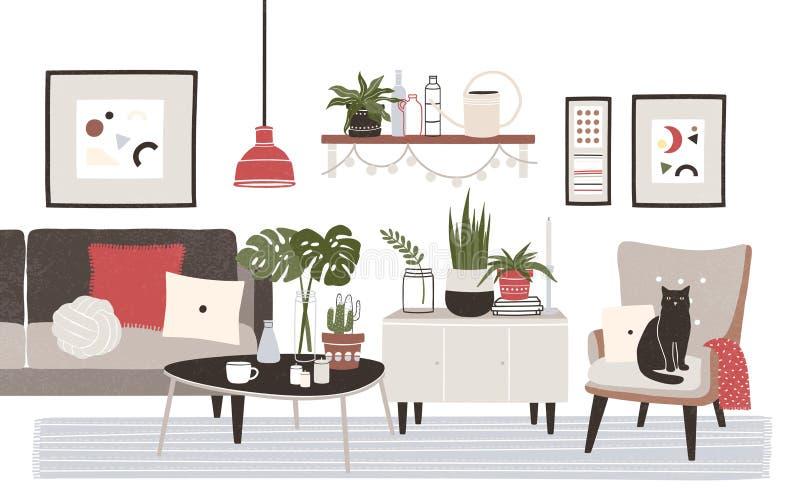 Живущая комната вполне уютной мебели и домашних украшений - софы, кресла, журнального стола, полки, изображений стены, в горшке иллюстрация вектора