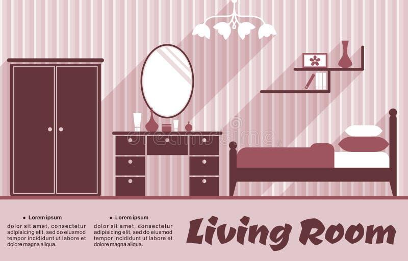 Живущая комната плоско внутренняя иллюстрация вектора