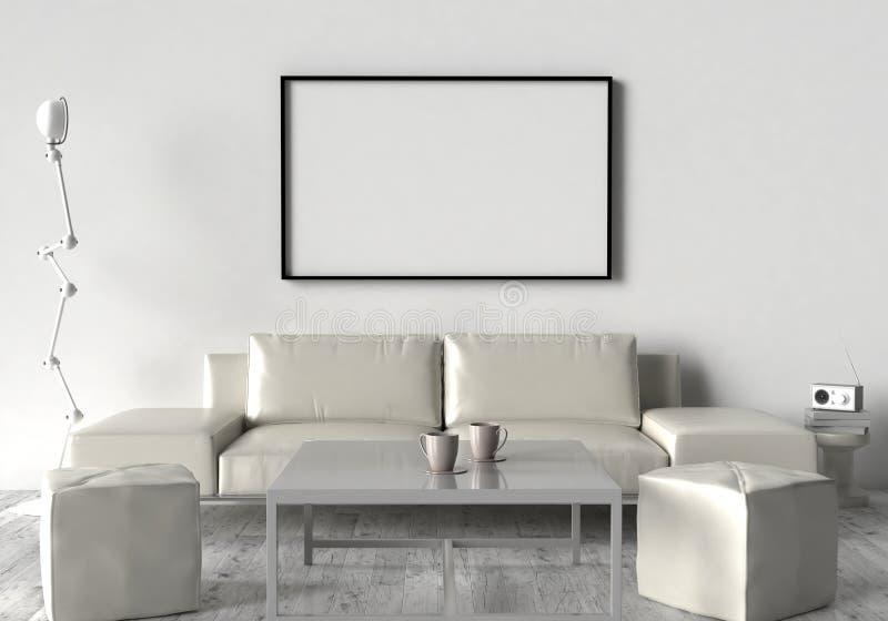 Живущая комната, софа, 2 stool и ставит на обсуждение На стене пустой иллюстрация вектора