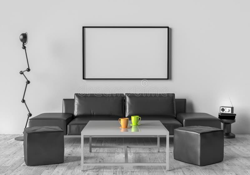Живущая комната, софа, 2 stool и ставит на обсуждение На стене пустой иллюстрация штока
