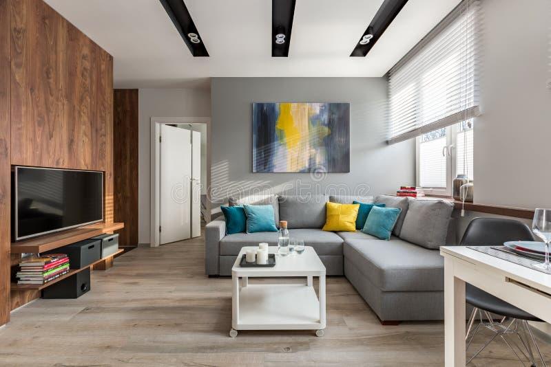 Живущая комната с большой софой стоковые изображения