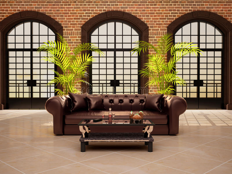 Живущая комната с большими сдобренными окнами иллюстрация штока