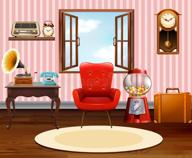 Живущая комната с винтажными объектами иллюстрация вектора
