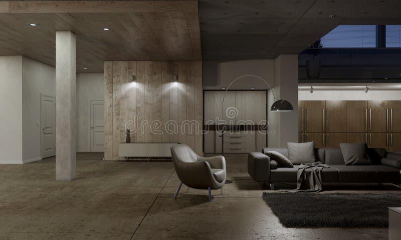 Живущая комната с кожаным креслом бесплатная иллюстрация