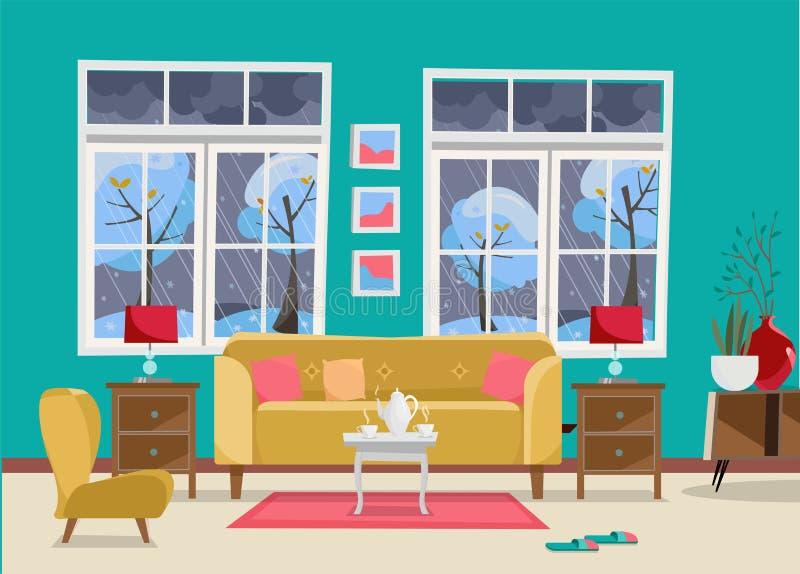 Живущая комната с Мебел-софой с таблицей, nightstand, картинами, лампами, вазой, ковром, набором фарфора, мягким стулом в комнате бесплатная иллюстрация