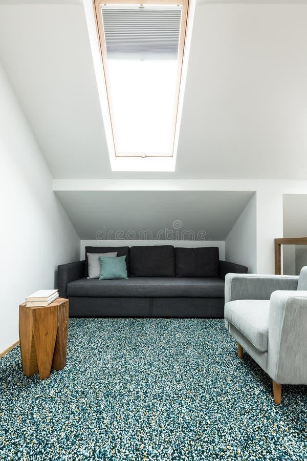 Живущая комната с окном крыши стоковое фото rf