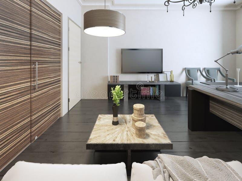 Живущая комната с рабочей зоной стоковое фото