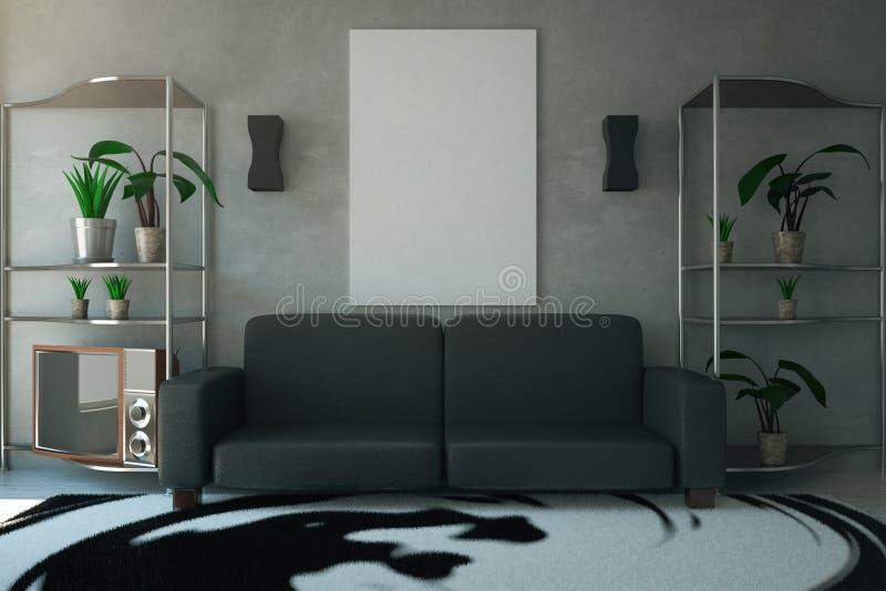 живущая комната с софой иллюстрация штока