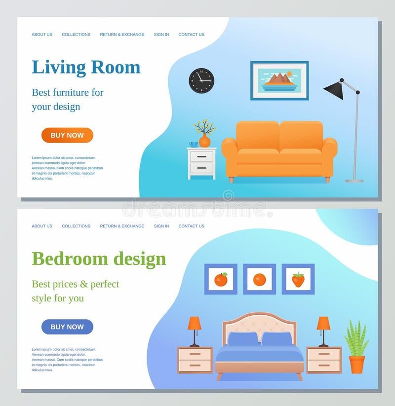 Живущая комната, шаблон дизайна интернет-страницы спальни Illustrati вектора иллюстрация вектора