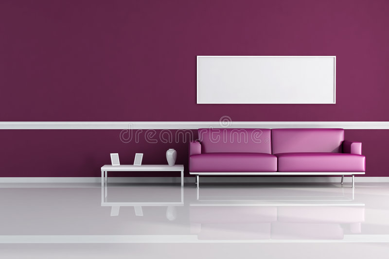 живущая пурпуровая комната бесплатная иллюстрация