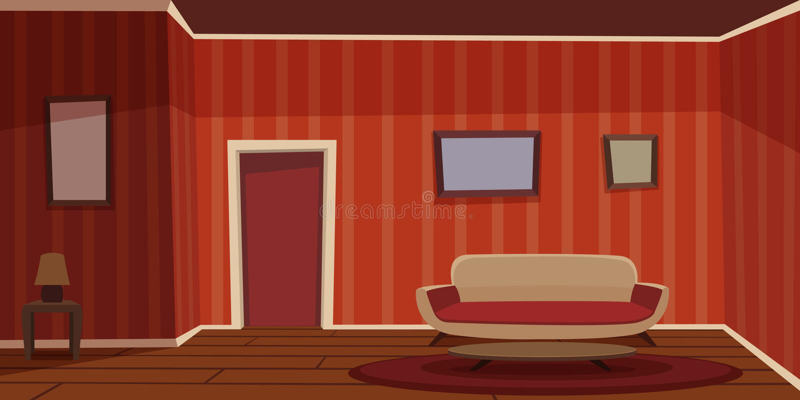 живущая ретро комната иллюстрация вектора