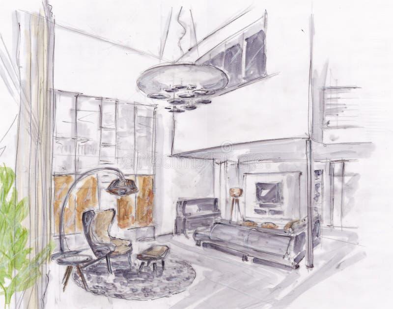 живущая самомоднейшая комната стоковое изображение