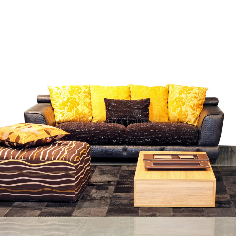 живущий желтый цвет комнаты стоковая фотография rf