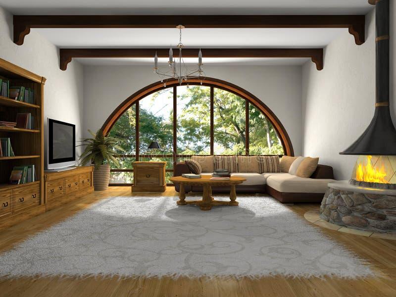 живущий самомоднейший взгляд комнаты бесплатная иллюстрация