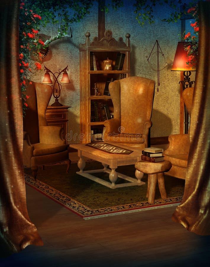 живущий сбор винограда комнаты иллюстрация штока