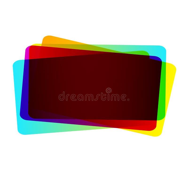 Живые пестротканые прямоугольные коробки перекрывая одно другое изолировали Творческая идея предпосылки для цифрового изображения иллюстрация вектора