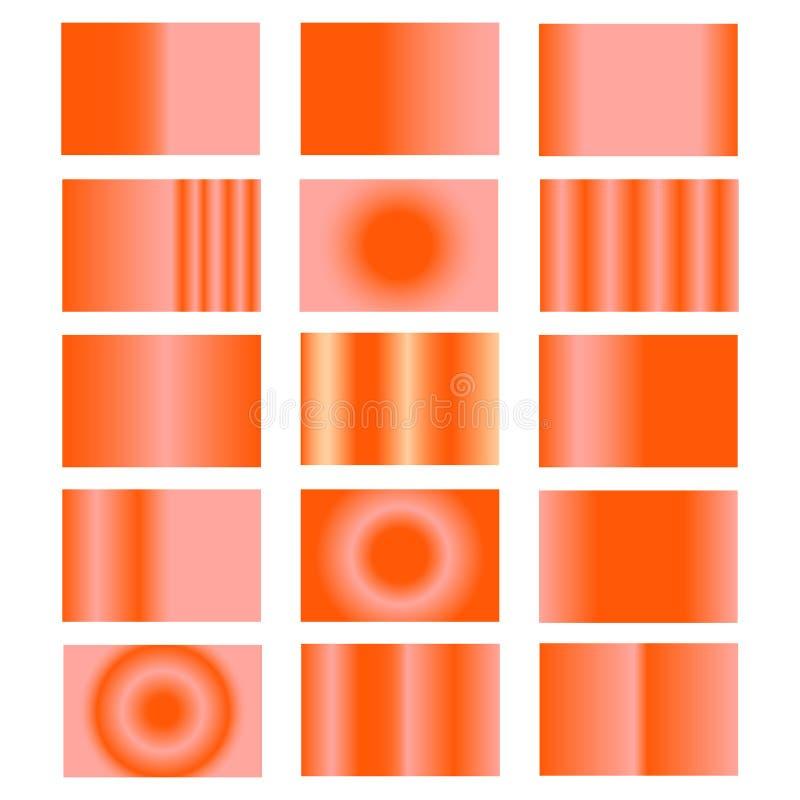 Живя градиент коралла Собрание красочных градиентов с лоснистой текстурой для дизайна крышек, знамен, плакатов и другого создатьс бесплатная иллюстрация