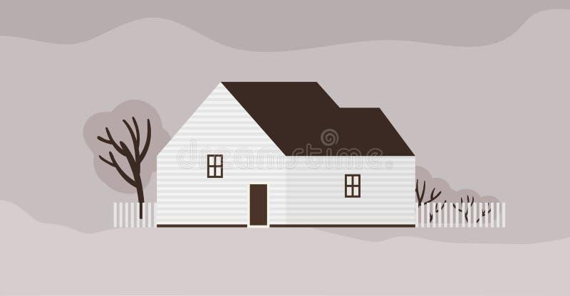 Живя дом или коттедж скандинавской архитектуры Пригородный жилой дом с загородкой Современная резиденция городка или бесплатная иллюстрация