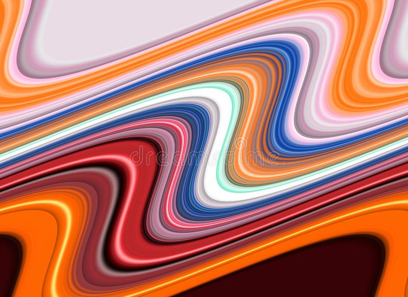 Жидкая текстура желтого зеленого цвета голубого красного цвета фиолетовая серая оранжевая, гипнотик запачкала творческий дизайн иллюстрация вектора