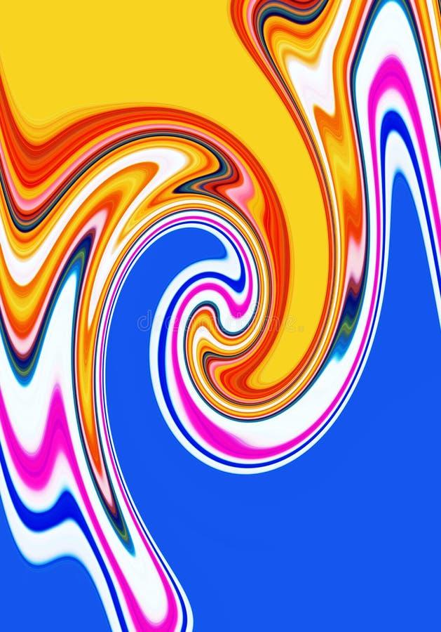Жидкая шаловливая геометрия в розовых голубых фиолетовых желтых оттенках, абстрактной предпосылке, фантазии бесплатная иллюстрация