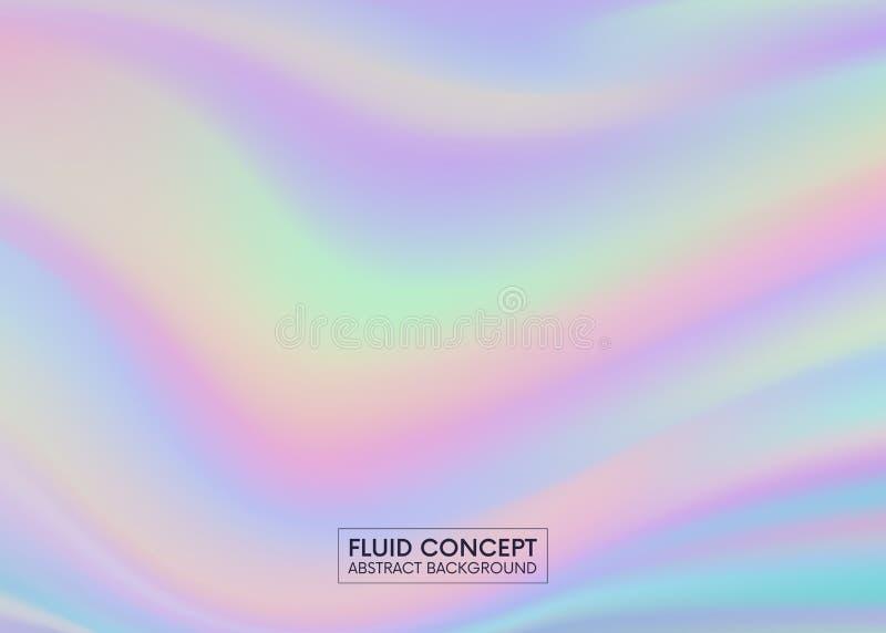 Жидкие обои цветов Голографическая абстрактная предпосылка в пастели ультрамодная красочная текстура в неоновом дизайне цвета иллюстрация вектора