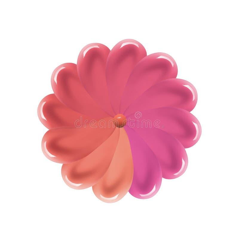 Жидкостная картина образца губной помады в форме цветка Мазки лоска губы Образец хода smudge продукта макияжа изолированный на бе стоковые фотографии rf