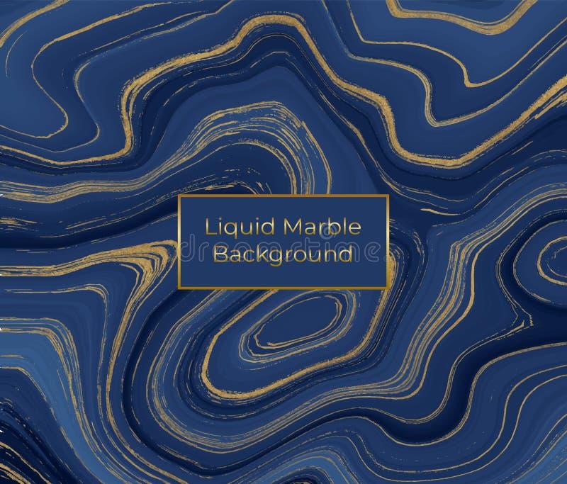 Жидкостная мраморная текстура Голубая и золотая картина конспекта картины чернил яркого блеска Ультрамодная предпосылка для обоев иллюстрация вектора