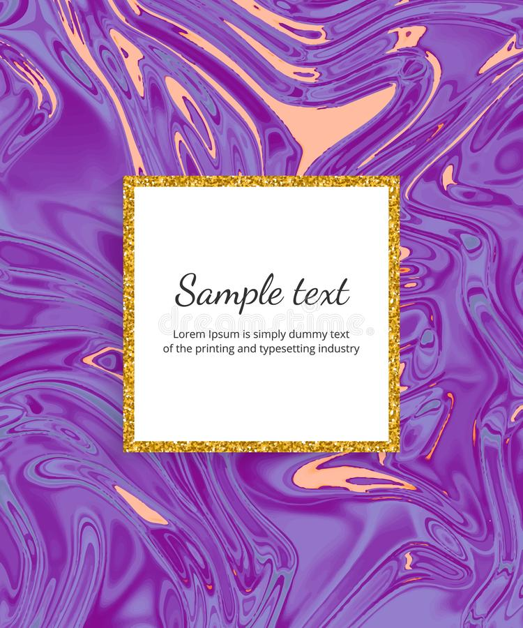 Жидкостная пурпурная мраморная карта текстуры Чернила струятся предпосылка дизайна акварели Ультрамодный жидкий шаблон для торжес иллюстрация вектора