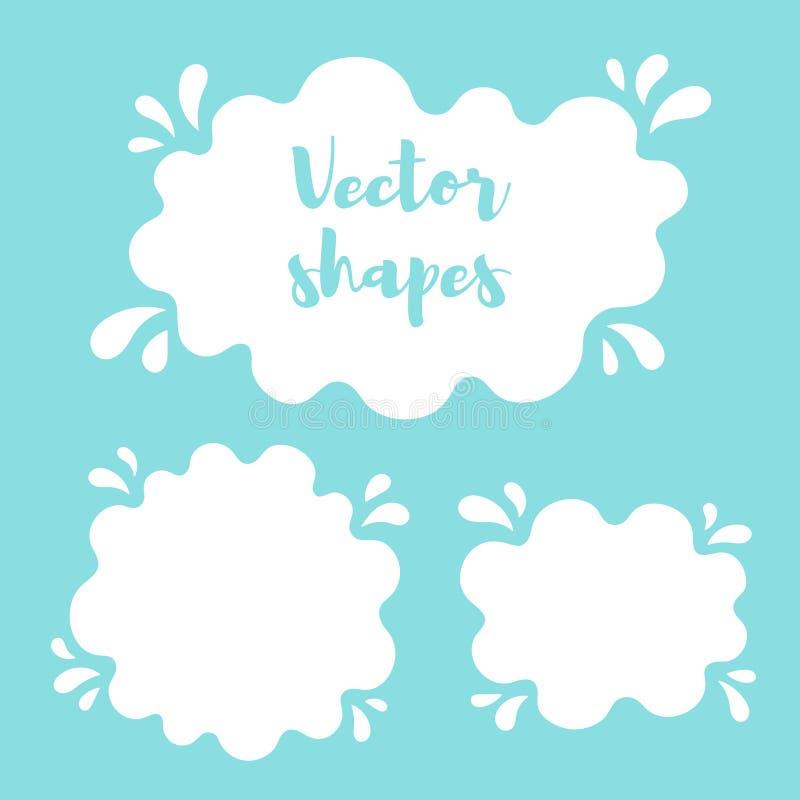 Жидкостные округленные формы предпосылки, рамки, лужица краски иллюстрация вектора